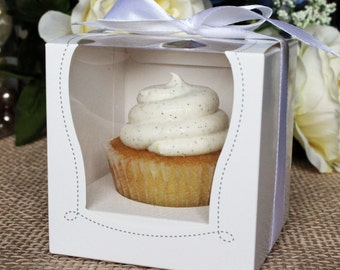 """White Cupcake Muffin Cake Boxes Party Shower Favor Gift Container 3.5""""X3.5""""X3.5"""" W/ Inserts"""