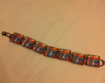 Blue Dog Square Link Metal Bracelet with Lobster Closure