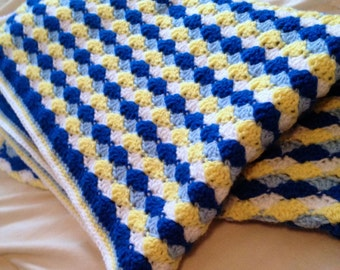 Shell Stripes Baby Afghan - Shell Stripes Baby Blanket - Shell Baby Blanket - Shell Baby Afghan - Striped Baby Blanket - Striped Baby Afghan