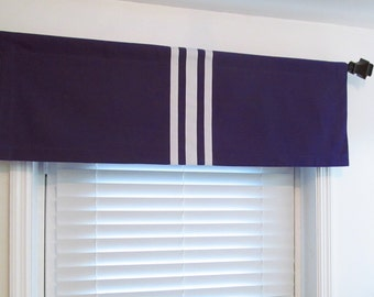 Contemporary Modern  Purple & White Window Valance Vertical Stripe Ribbon Trimmed/ Original Design by OldStation!