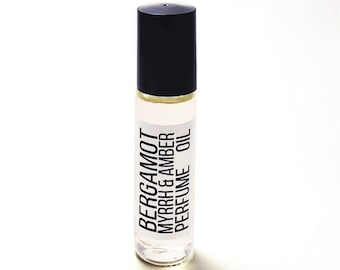 BERGAMOT + MYRRH PERFUME - Myrrh Oil - Roller Bottle - Roll On Perfume - Bergamot Oil - Travel Size Bottle - Vegan Gift - Amber Perfume