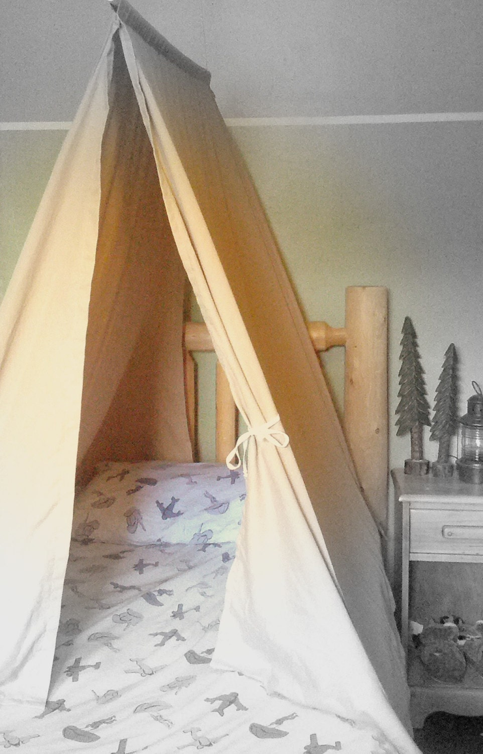 ?zoom & Twin Size Bed Tent Custom Kids Teepee Canopy for Boys or