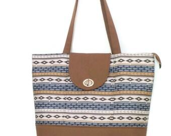 Tote / Tote Bag / Zippered Tote Bag / Shoulder Bag / Handbag / Purse / Everyday Bag /Diaper Bag / Brown and Navy Tribal Print