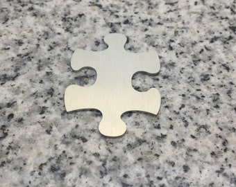 MAGNETIC 1 1/2'' x 1'' (38mm x 25mm) Puzzle Piece Blank, 22g Stainless Steel - LMP12-08