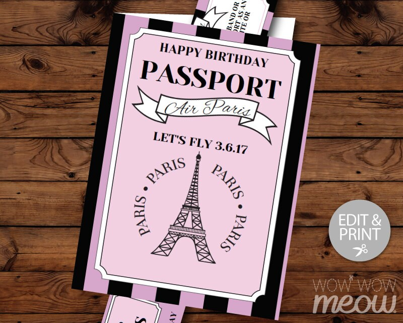 PARIS Birthday Invitation Passport Plane Ticket Invite Eiffel
