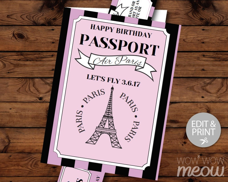 Paris birthday invitation passport plane ticket invite eiffel zoom filmwisefo
