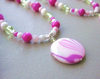 Girls Necklace, Hot Pink and Sparkling Lime with Sterling Silver Clasp, Large, GNL 144