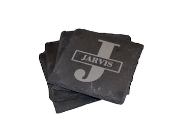 Engraved Slate Coasters, Personalized Set Of 4 Coasters, Monogrammed Coasters