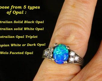 Black Opal & Diamond Engagement ring SET. Matching diamond wedding band. Your choice of Black or White Australian opal, or Opal Triplet.