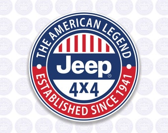 Jeep Decal - Jeep 4x4 Bumper Sticker - Jeep The American Legend Decal - Jeep Laptop Sticker - Permanent or Removable Sticker