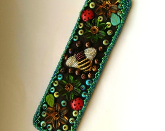 Beadwoven Cuff Bee Bracelet, Floral Beadwork, Green Leaves& Flowers, Honey bee, Beekeping, Ladybugs, Gift for her- Spring by enchantedbeads