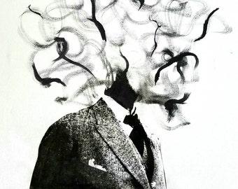 Mess-head no. 005- mixed media - Original Artwork