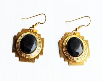 Black Dangle Earrings, Aztec Earrings, Black Drop Earrings, Black Earrings, Gold Drop Earrings, Gold Earrings