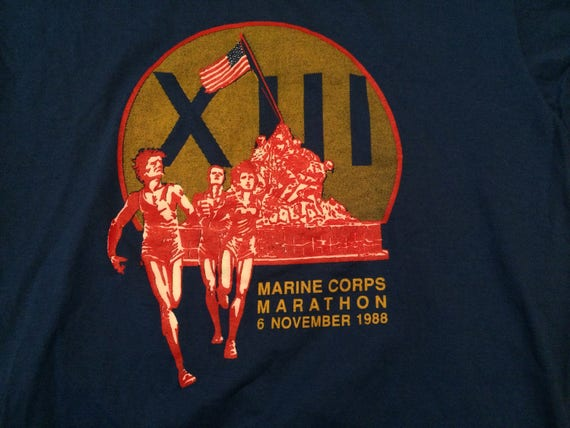 XL 1988 Marine Corp Marathon XIII 6 November 1988 blue red gold 1980's Velva Sheen 80's U.S. Marines E65wH1ekN