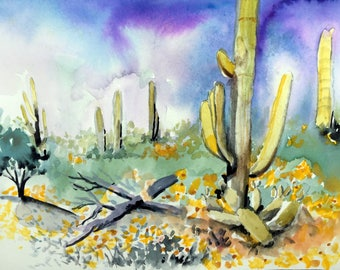 Cactus Oil  and watercolor paintings