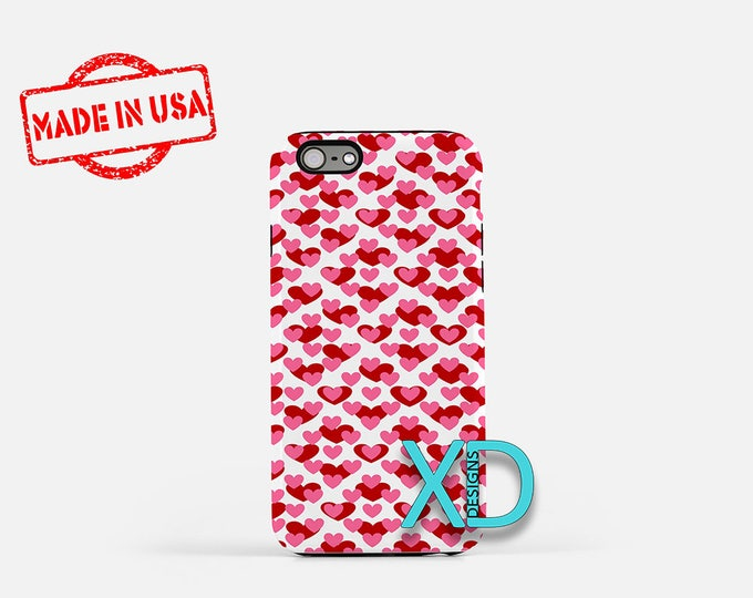 Red Heart iPhone Case, Heart Pattern iPhone Case, Heart iPhone 8 Case, iPhone 6s Case, iPhone 7 Case, Phone Case, iPhone X Case, SE Case