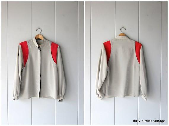 Louis Feraud Blouse   80s Button Up   Modern Gray Red Shirt Minimal Poly Oxford Long Sleeve Shirt Mod Secretary Shirt Women 38 Small Medium