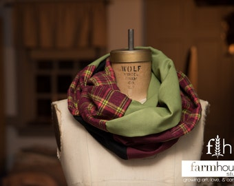 Infinity Scarf, Upcycled Material, Flannel, Maroon Plaid, Moss Green