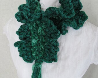 Emerald Fluffy Neck Warmer Kelly Green Ruffled Scarf