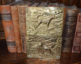 Antique English Brass Letter Holder Hanging Rack Hunt Scene