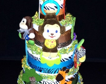 Monkey Musical Jungle Diaper Cake