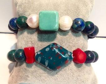 Bracelet Jasper and African ceramics