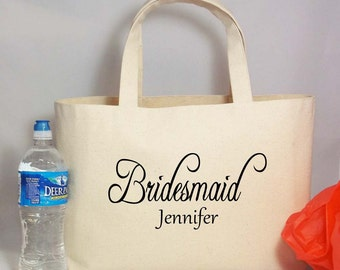 Personalized BRIDESMAIDS Gift Canvas Beach Tote with Name, Rustic Wedding, Beach Wedding, Barn Wedding, Party Gift Bag