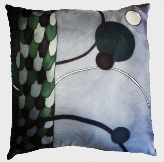 FLYING CIRCLES - Decorative Hand Painted  Silk  Pillow