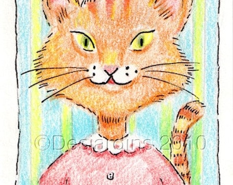 ACEO Original Pen and Colored Pencil Drawing - Miss Millicent