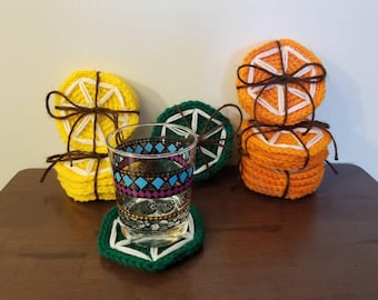 Lemon, Lime, and Orange Crocheted Coasters set of 4