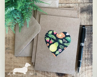 DOLLAR DEAL! Floral Heart. Note Cards (Set of 4) -- (Vintage-Style, Brown Kraft, Rustic, Baby Shower, Simple, Bridal Shower, Love, Fruit)