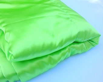 Lime Green Satin Blanket Throw, Large Luxurious Accent Blanket, Living room Accent, Bedroom throw blanket