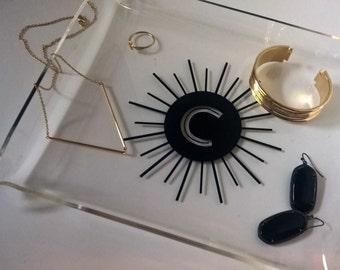 Monogram Jewelry Tray - Acrylic tray, jewelry tray, mid century, personalized tray, jewelry dish, typography, home decor, monogram dish
