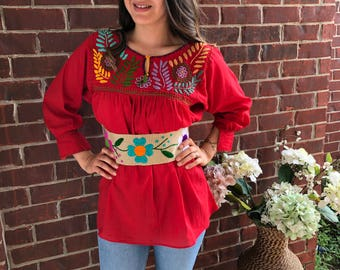 Mexican vintage style red blouse