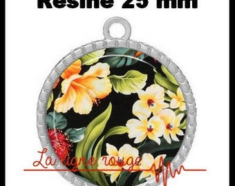 Round Cabochon pendant 25 mm epoxy - flowers and summer scent (2200) - floral, bouquet, Garden