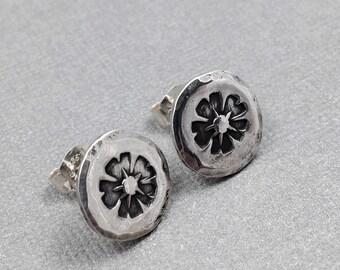 Sterling Silver Boho Flower Studs - Sterling Silver Post Earrings - Flowers