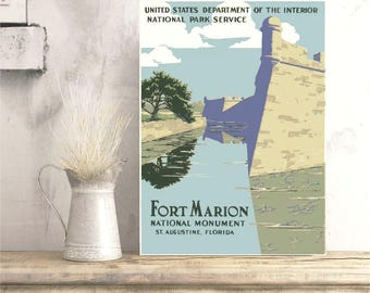 Fort Marion Monument, Florida Poster, Fort Marion Poster, WPA Poster, Castillo de San Marcos, National Park Poster, USA Monuments Print