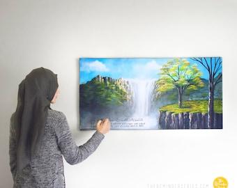 Islamic wall art, islamic painting, islamic canvas painting, waterfall landscape