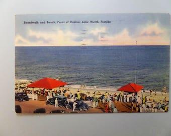 Vintage Postcard Lake Worth Florida Linen 1940 Boardwalk and Beach Front of Casino