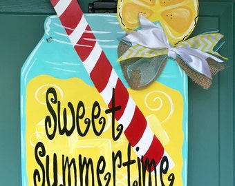 Sweet Summertime Mason Jar Door Hanger, Summer Door Hanger, Summer Decor, Lemonade Door Hanger