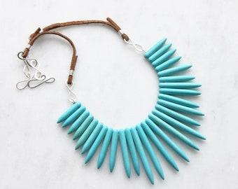 Choker, Statement Necklace, Turquoise Bib Necklace, Spike Necklace, Warrior Necklace, Bohemian Jewelry, Handmade Jewelry