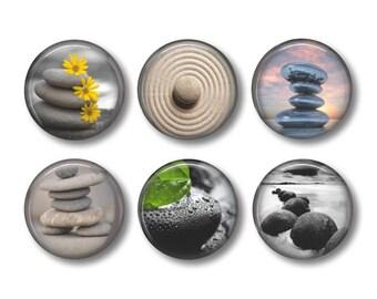 Zen pinback button badges or fridge magnets, fridge magnet set