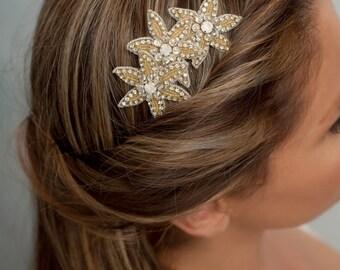 Stars headpiece, bridal hair comb, bridesmaid headpiece, beaded bridal piece, wedding hair comb, gold hair comb, crystal headpiece