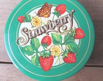 Strawberry Tin Vintage Cookie Tin Storage Tin
