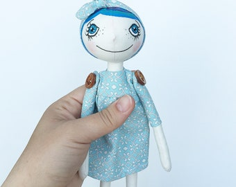 Oh,Zuzana handcrafted and handpainted 9inch (23cm) tall cloth art doll.