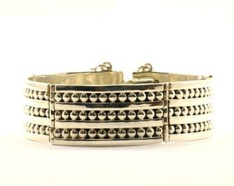 Vintage Wide Beaded Design Link Bracelet 925 Sterling BR 2811