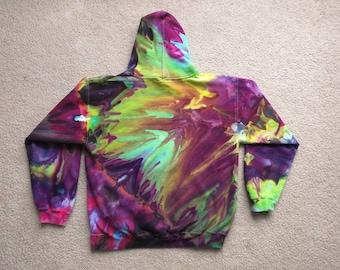 Tie Dye Ice Dye Festival Pullover Hoodie Adult Medium - Rivers of Neon