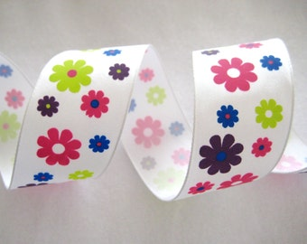 """SALE 5 yards Multi Color Flowers Wire-Edged Grosgrain Ribbon for Team Bows, Gift Wrapping, 1.5"""" wide, CLEARANCE SALE"""