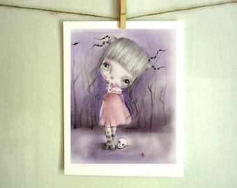 Postcard,art print or a woodblock..from my original artwork,fine art print on cooton paper,goth fairy girls