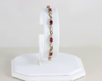 10k Yellow Gold with White Gold Accents Ruby Tennis Bracelet